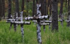 Symboliczny cmentarz leśny w pobliżu dawnego obozu jenieckiego