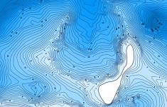 Mapa batymetryczna jeziora Pile dostosowana do wyświetlania na urządzeniach mobilnych