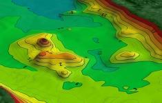 Model dna w okolicy północnej wyspy - efekt prac batymetrycznych, wykonanych w 2016 r.